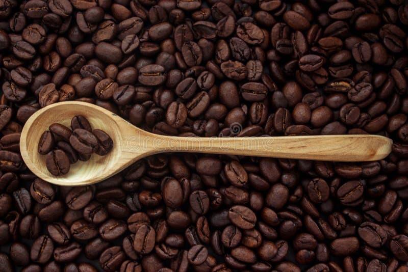 Grains de café dans une cuillère photographie stock