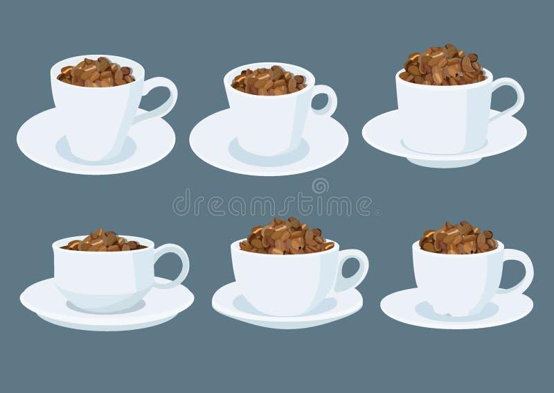 Grains de café dans une tasse de café blanc sur la soucoupe sur le fond gris illustration stock