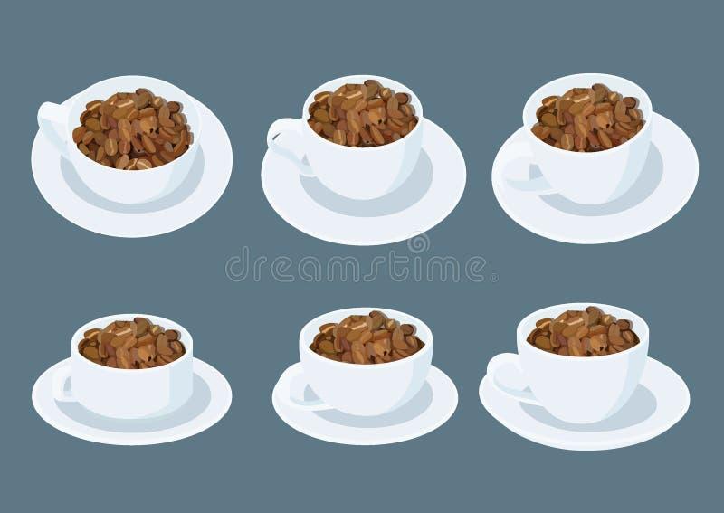 Grains de café dans une tasse de café blanc sur la soucoupe sur le gris illustration libre de droits
