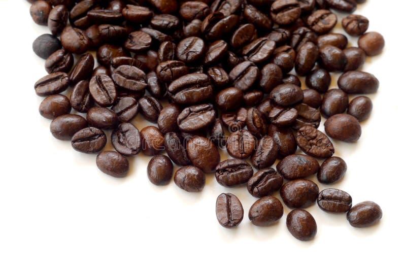 Grains de café de Brown d'isolement sur le blanc photo stock