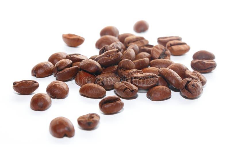 Grains de café de Brown sur le fond blanc photos stock