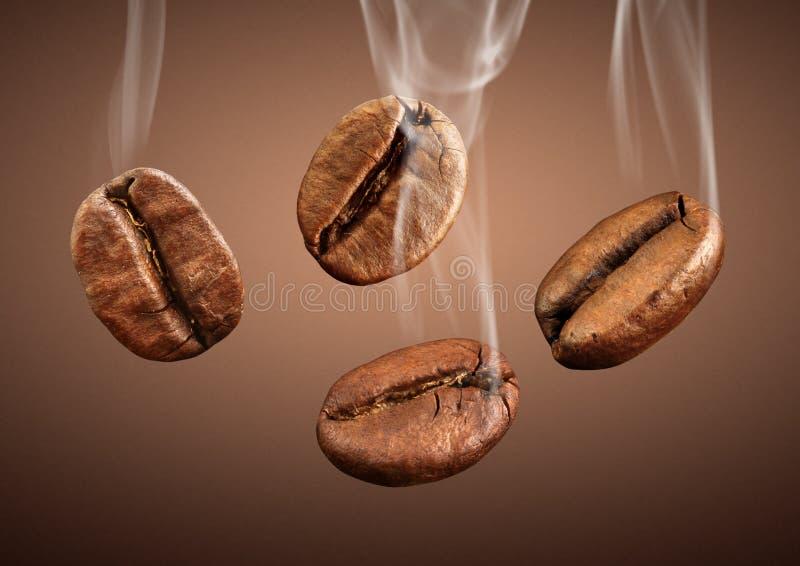 Grains de café en baisse de plan rapproché avec de la fumée sur le fond brun photos stock