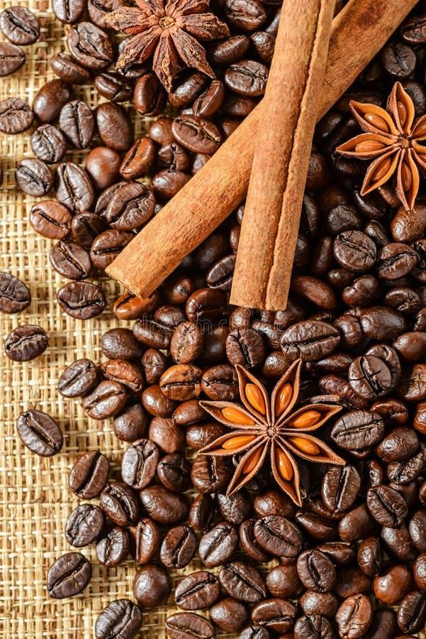 Grains de café et bâtons de cannelle images libres de droits