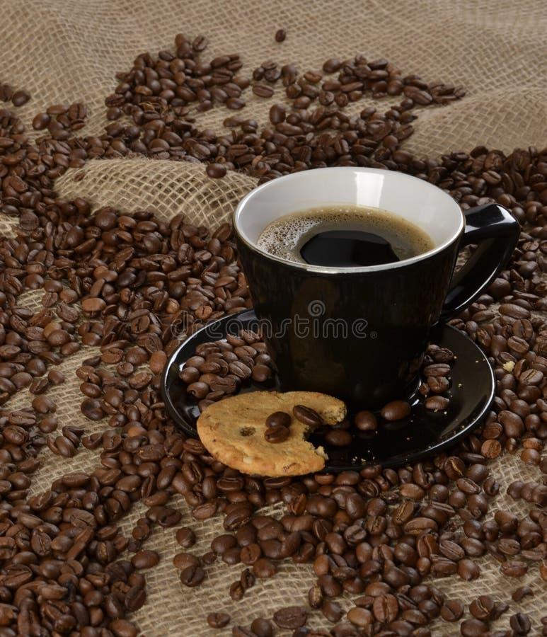 Grains de café et biscuit complet images libres de droits