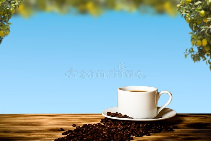 Grains de café et café dans la tasse blanche sur la table en bois vis-à-vis d'a photographie stock libre de droits