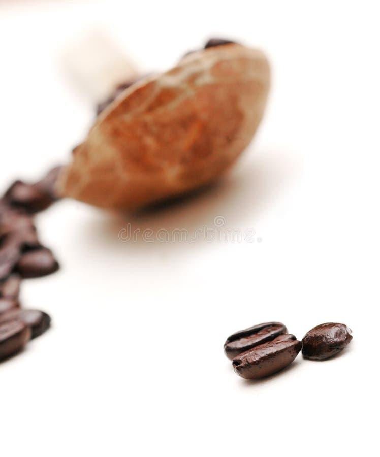 Grains de café et cuillère en bois images stock