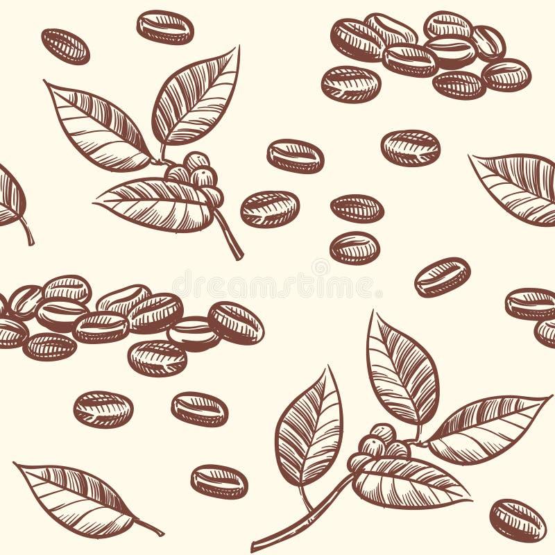 Grains de café et feuilles, expresso, modèle sans couture de vecteur de cappuccino dans le style de croquis illustration de vecteur