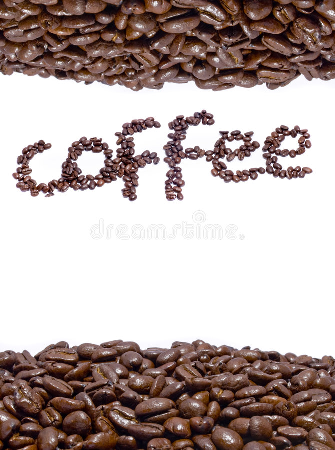 Grains de café et nom images libres de droits