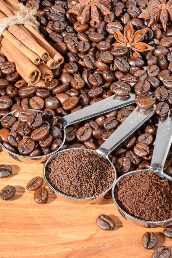 Grains de café et poudre photographie stock