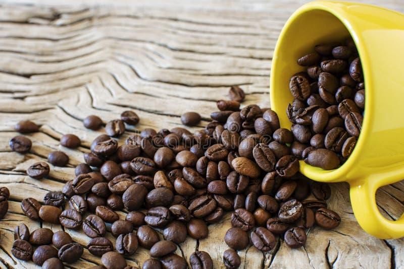 Grains de café et tasse jaune photographie stock