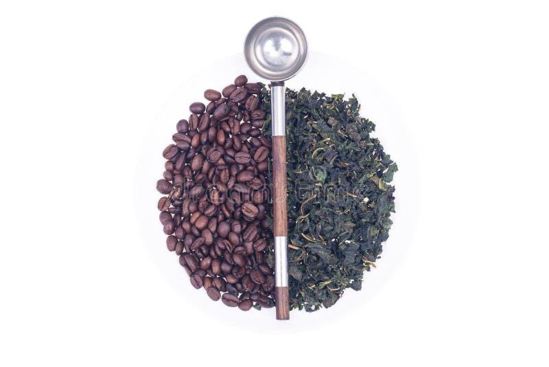 Grains de café et thé vert photos stock