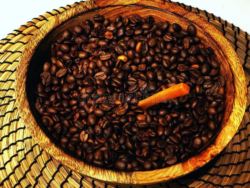 Grains de café fraîchement frits dans une cuvette en bois image libre de droits