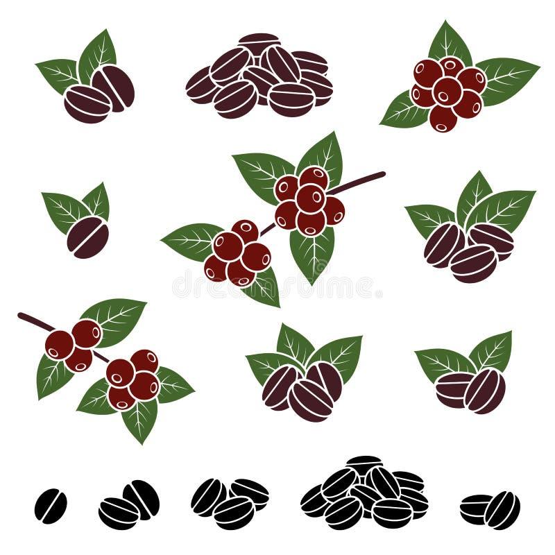 Grains de café réglés Vecteur illustration stock