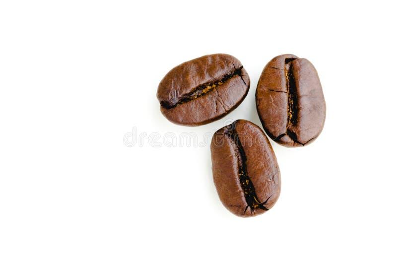 Grains de café sur le fond d'isolement photo stock