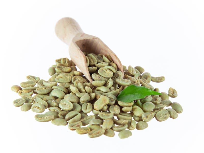Grains de café verts dans la cuvette en bois photo stock