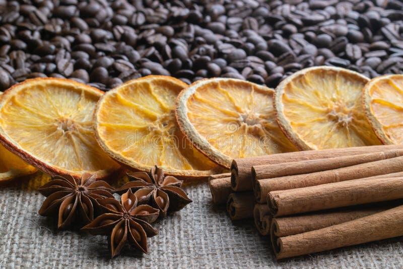 Grains de caf? avec les b?tons de cannelle d'agrume et l'anis d'?toile sur le fond de la toile de jute photo stock