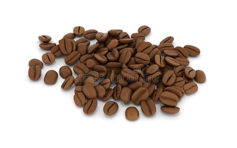 Grains de caf? d'isolement sur le fond blanc 3d illustration libre de droits