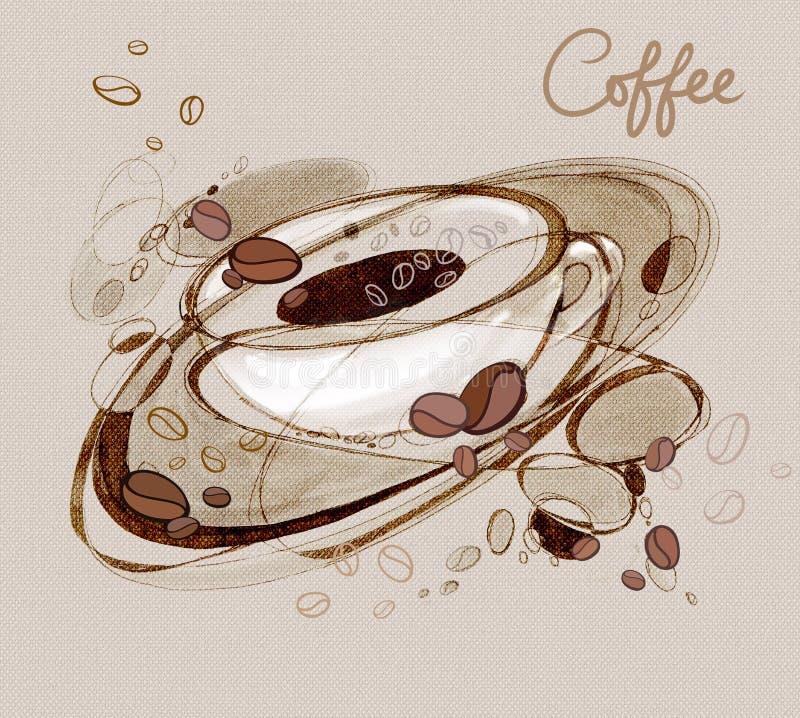 Grains de caf? de kofs d'inscription et une tasse de caf? illustration libre de droits