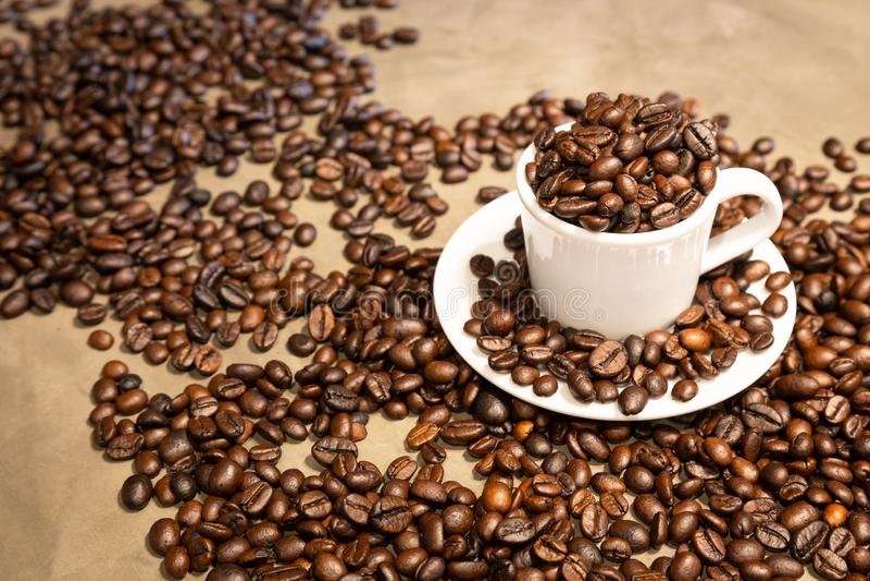 Grains de caf? r?tis dans une tasse d'expresso chaud, grains de caf? d'arabica et grains de caf? robusta m?lang?s, milieu r?ti ?  image libre de droits