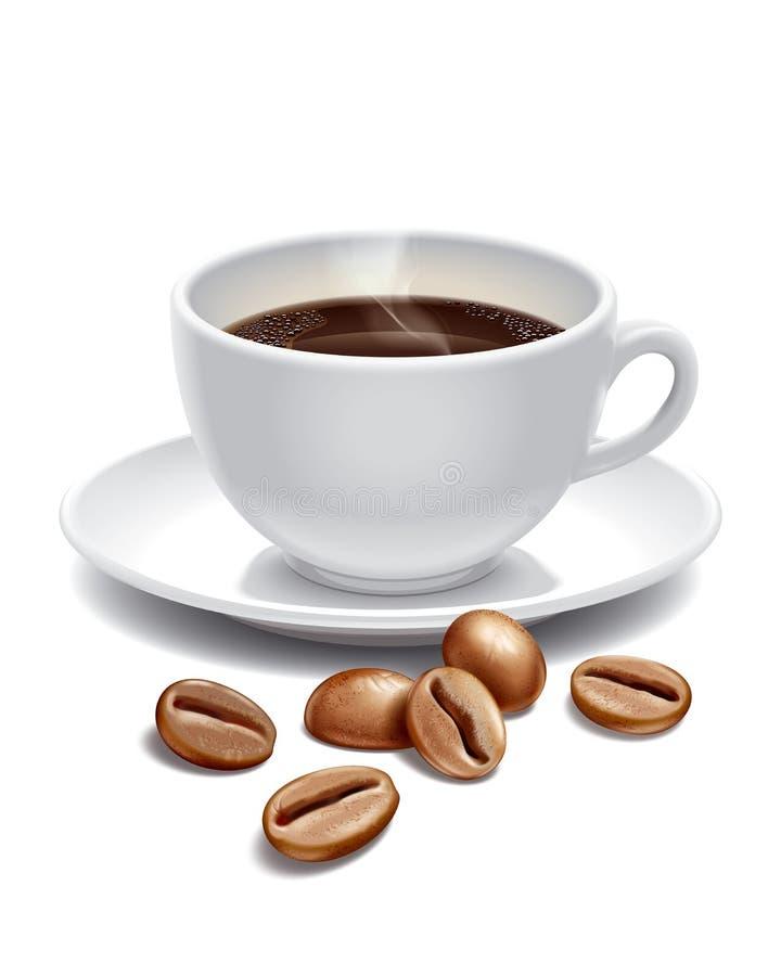 Grains de tasse et de rôti de café illustration stock