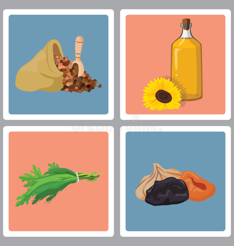 Grains, herbs, oil and dried fruits - useful products vector illustration