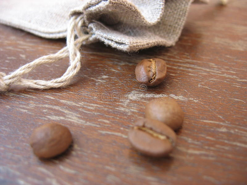 Grains of natural coffee stock photography