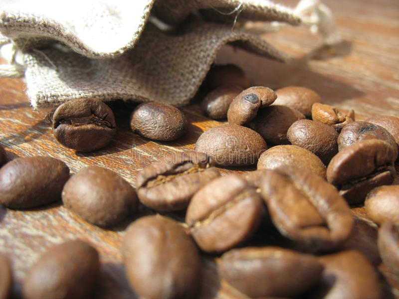 Grains of natural coffee royalty free stock photo