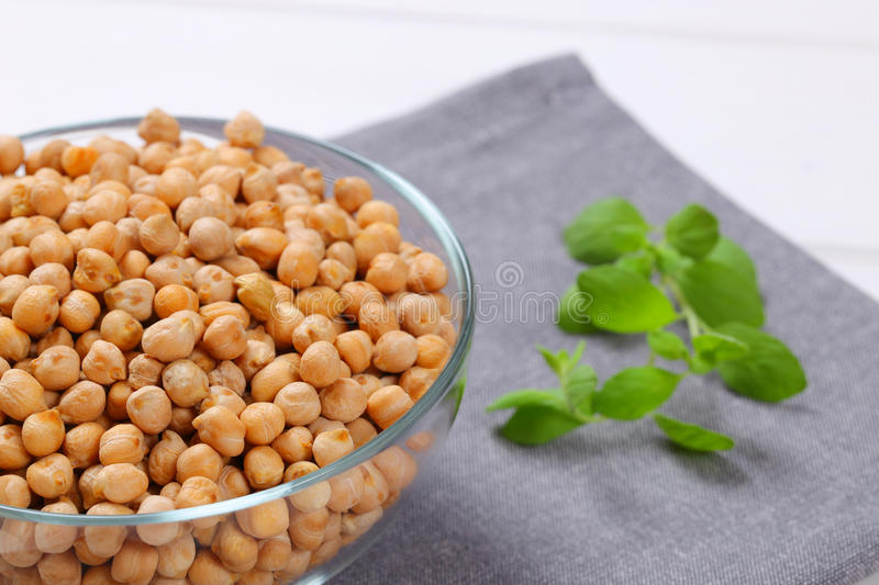 Grains of raw chickpeas stock photos