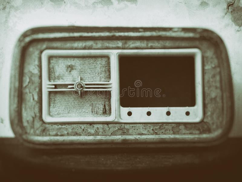 Grainy sepia toned blurred vintage effect style image of an old radio receiver. A grainy sepia toned blurred vintage effect style image of an old radio receiver royalty free stock photos
