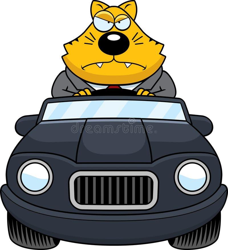 Graisse Cat Driving Angry de bande dessinée illustration de vecteur