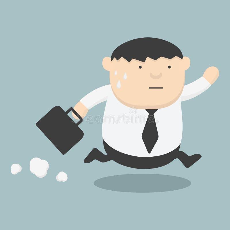 Graisse d'affaires fonctionnant tard illustration libre de droits