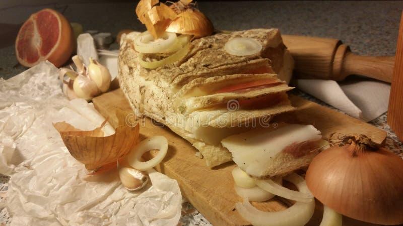 Graisse de porc aux oignons image stock