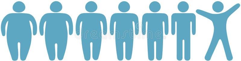 Graisse pour amincir des gens de forme physique de perte de poids illustration de vecteur
