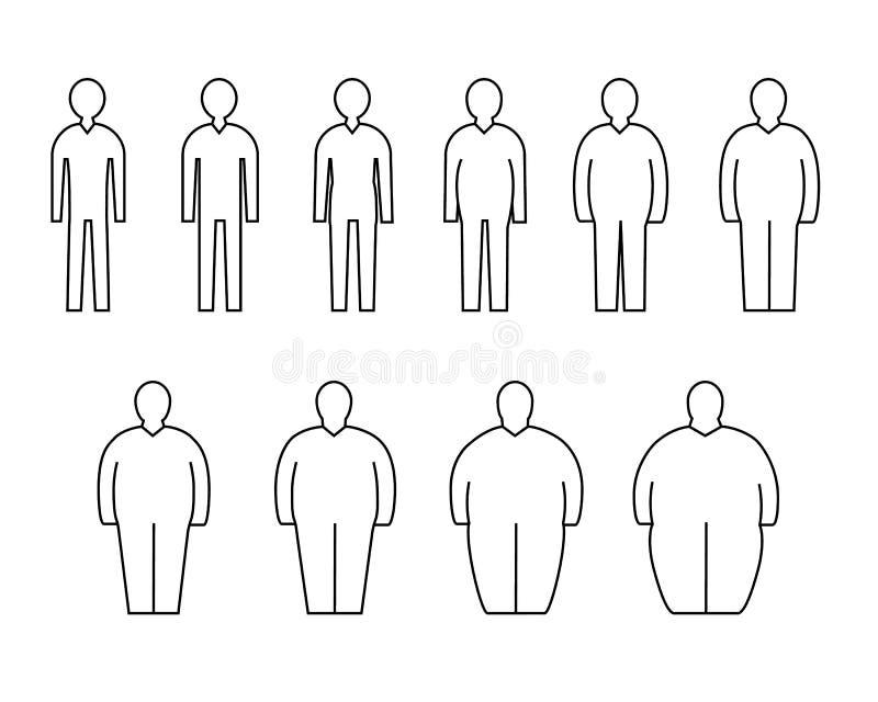 Graisse pour amincir la ligne noire ensemble de signes d'hommes de silhouette d'icône Vecteur illustration de vecteur