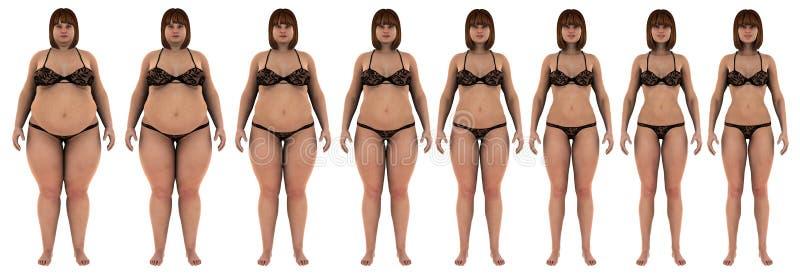 Graisse pour amincir la transformation de perte de poids d'une fille blanche illustration stock