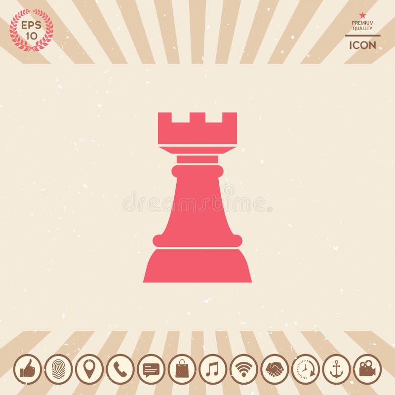 Grajo del ajedrez Icono de la estrategia ilustración del vector