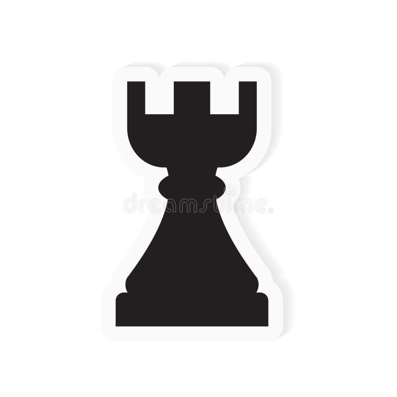 Gralha da xadrez, ícone da parte da torre ilustração stock