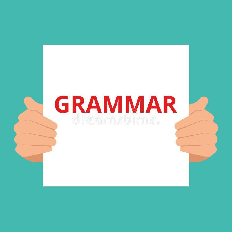 Gramática del texto de la escritura de la palabra stock de ilustración