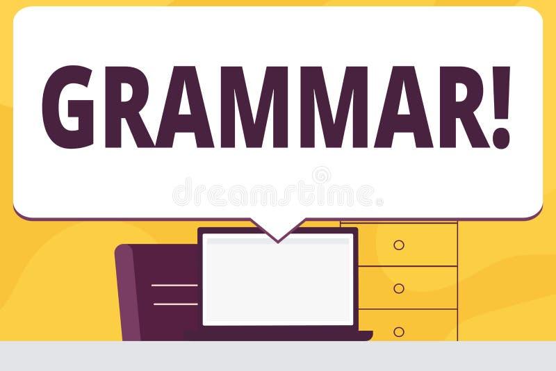 Gramática do texto da escrita da palavra O conceito do negócio para o sistema e a estrutura de regras de escrita da língua anulam ilustração stock