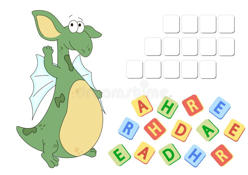 Gramática inglesa com palavras cruzadas do dragão verde ilustração royalty free