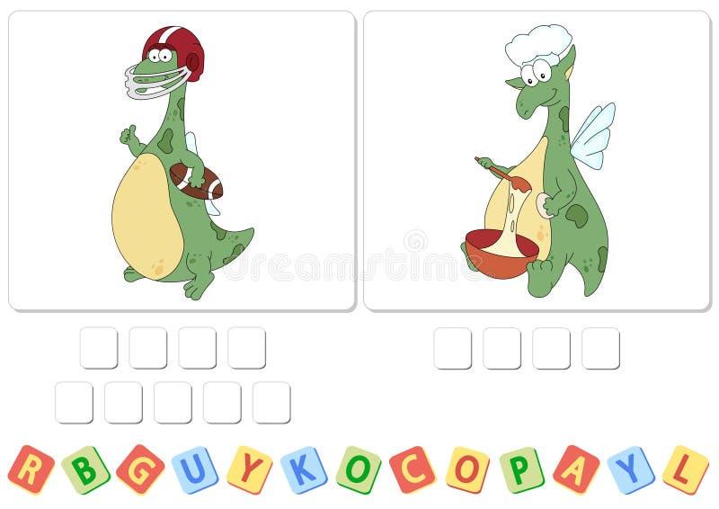 Gramática inglesa con el crucigrama del dragón verde ilustración del vector