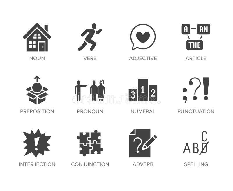 Gramática, sistema plano de los iconos del glyph de la educación Categor?as gramaticales verbo, preposici?n, pronombre, adjetivo, ilustración del vector