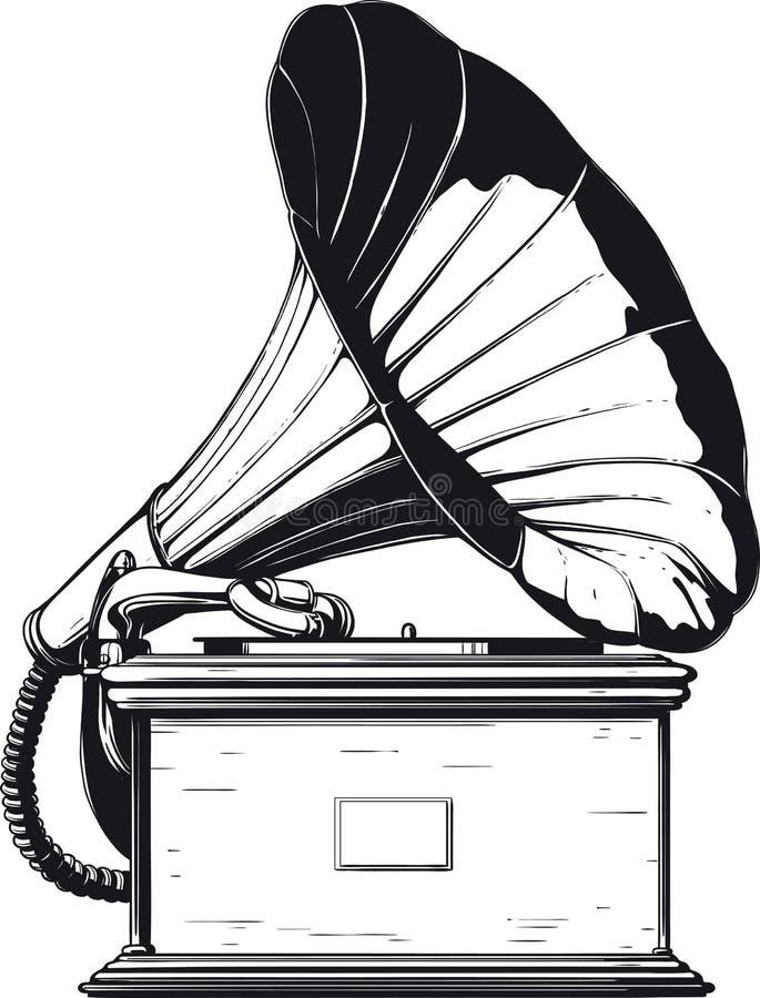Gramófono de la vendimia ilustración del vector