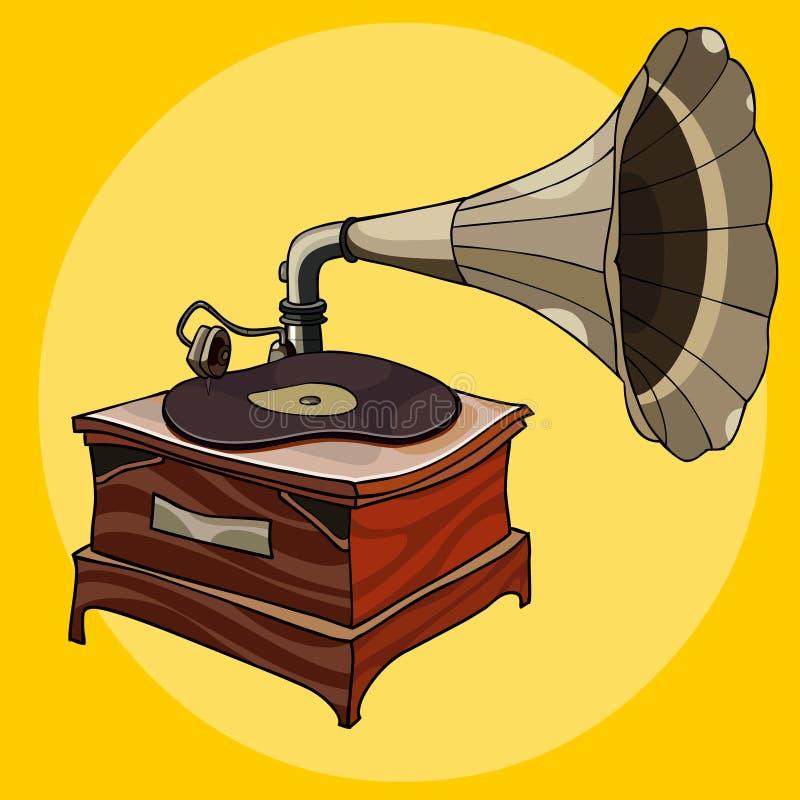 Gramófono de madera del vintage de la historieta con la placa curvada libre illustration