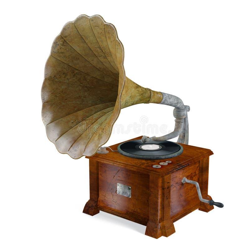 Gramófono del vintage aislado. ilustración del vector