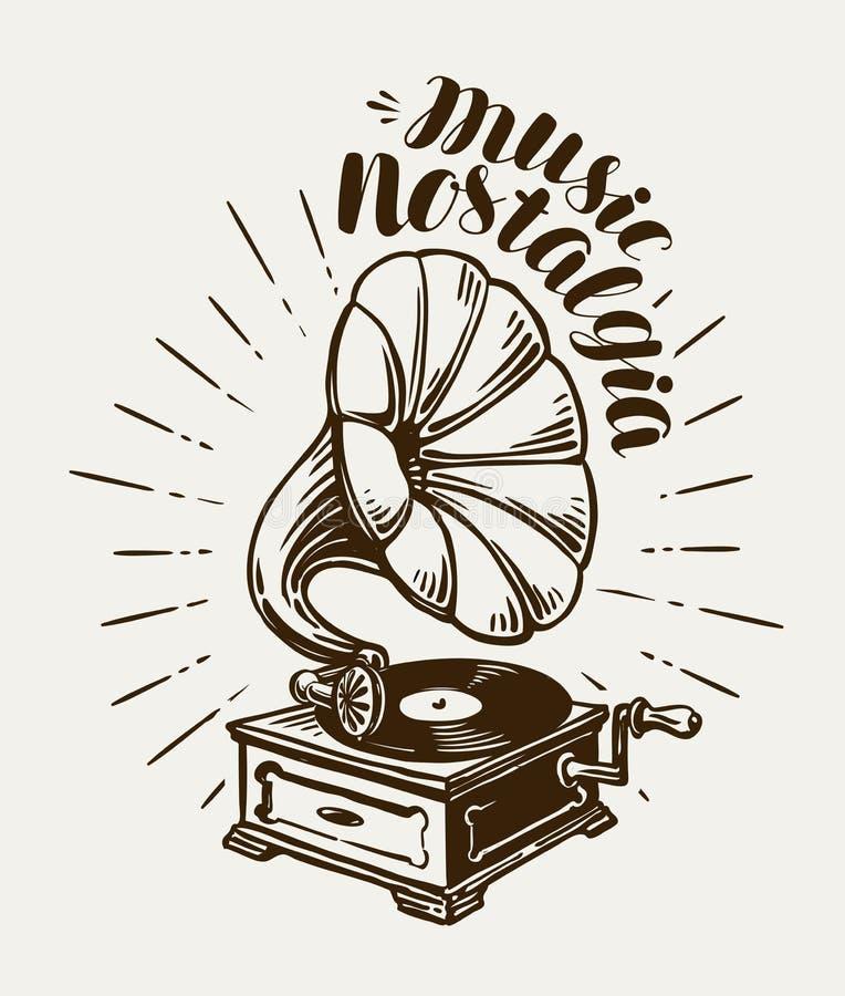 Gramófono, fonógrafo, bosquejo de los tocadiscos Concepto de la música Ejemplo del vector de las letras stock de ilustración