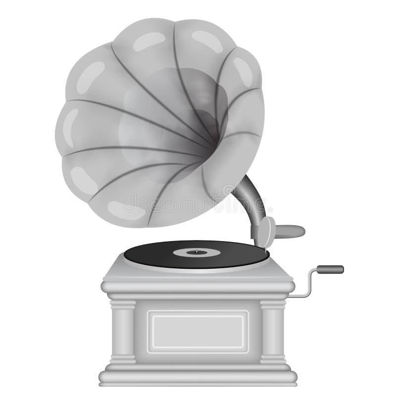 Gramófono retro viejo E Música, símbolo de la nostalgia ilustración del vector