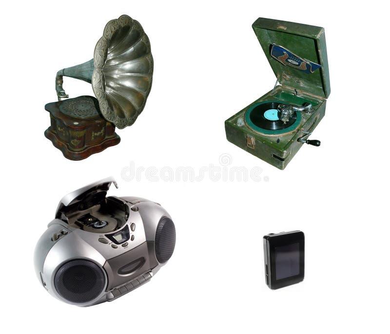 Gramófono y jugadores foto de archivo