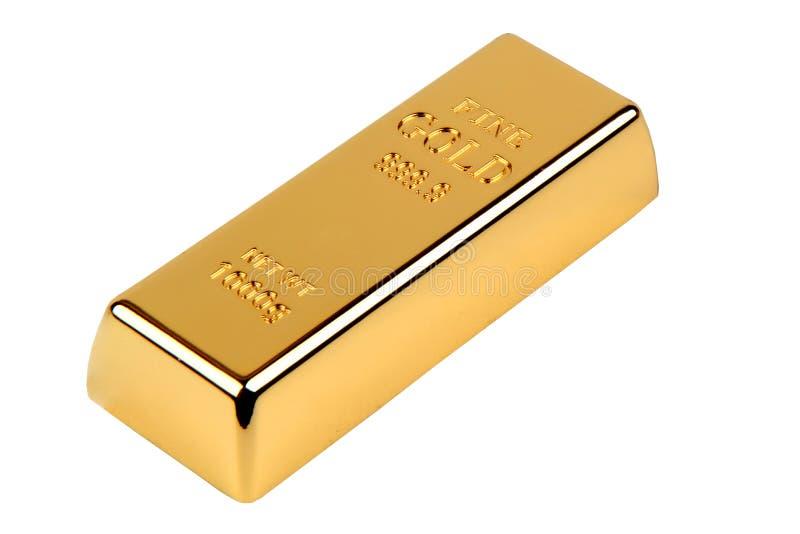1000 gram av guld- stång 999 9 på vit bakgrund arkivbild