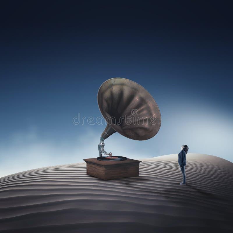 Gram?fono antiguo Mujer que mira para arriba a un jugador de música antiguo del fonógrafo stock de ilustración